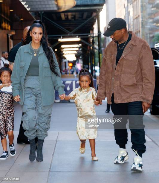 Kim Kardashian and Kanye West take North West to Polo Bar on June 15, 2018 in New York City.