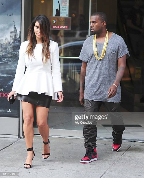 Kim Kardashian and Kayne West are seen leaving a movie theater on September 1, 2012 in New York City.