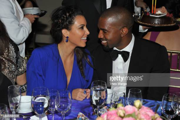 Kim Kardashian and Kayne West attend the Angel Ball 2012 hosted by Gabrielle's Angel Foundation at Cipriani Wall Street on October 22 2012 in New...