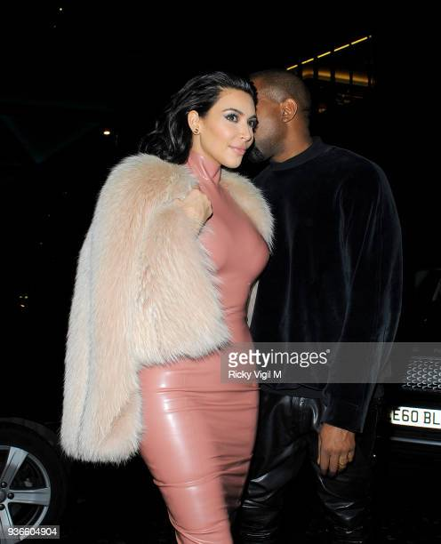 Kim Kardashian and Kayne West dine at Mr Chow restaurant on February 26 2015 in London England