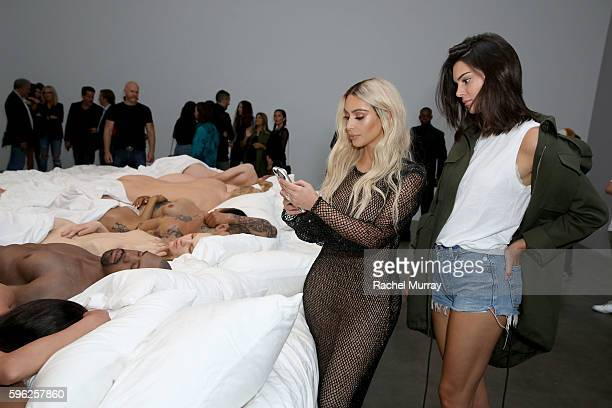 Kim Kardashian and Kendall Jenner attend Famous by Kanye West a private exhibition event at Blum And Poe Los Angelesat Blum Poe on August 26 2016 in...