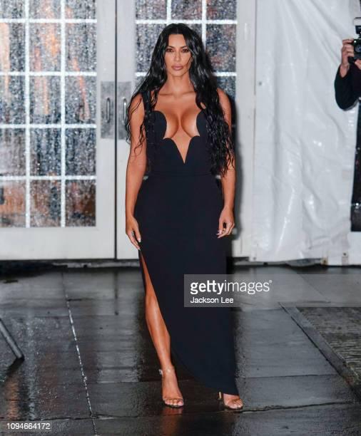 Kim Kardashian and Kourtney Kardashian arrive at the amfAR Gala on February 6 2019 in New York City