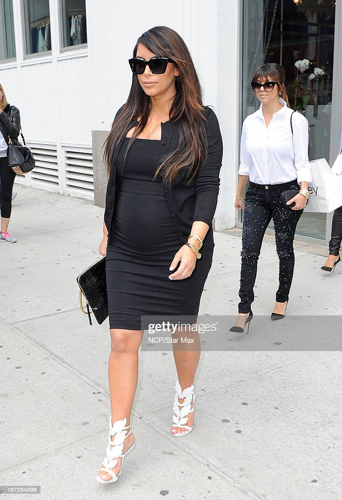 Kim Kardashian and Kourtney Kardashian as seen on April 22, 2013 in New York City.