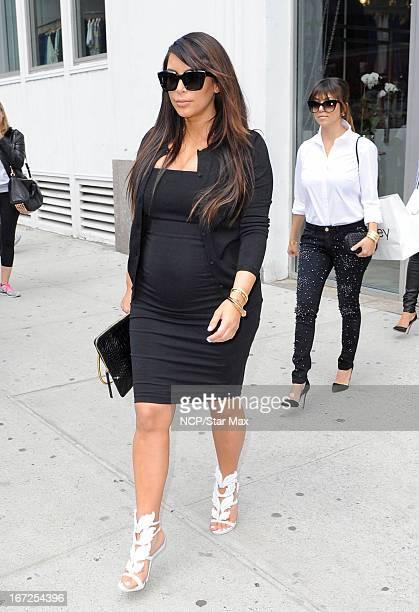 Kim Kardashian and Kourtney Kardashian as seen on April 22 2013 in New York City