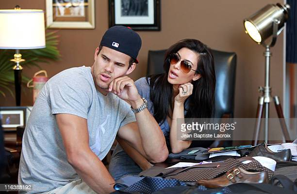 Kim Kardashian and Kris Humphries are seen shopping for their wedding at Scott Hill Bespoke Designs in Beverly Hills on June 15 2011 in Los Angeles...