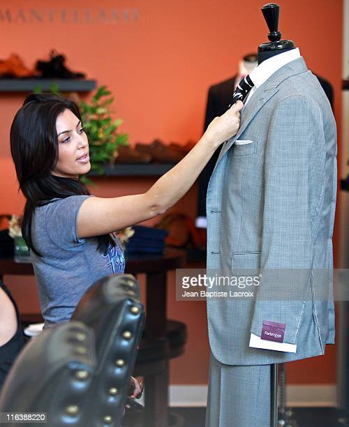 Kim Kardashian and Kris Humphries are seen shopping for their wedding at Scott Hill Bespoke Designs in Beverly Hills on June 15, 2011 in Los Angeles,...