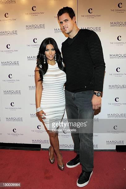 Kim Kardashian and Kris Humphries arrive at Kim Kardashian's birthday party at her birthday at Marquee Nightclun at the Cosmopolitan on October 22...