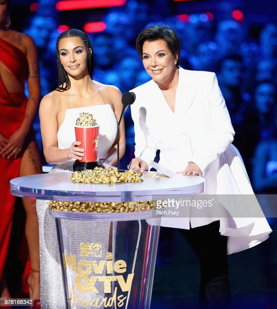 Kim Kardashian and Kris Jenner accept Best Reality Series/Franchise for 'Keeping Up with the Kardashians' onstage during the 2018 MTV Movie And TV...
