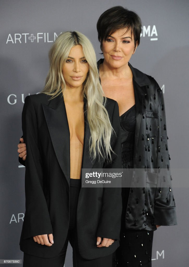 Kim Kardashian and Kris Jenner arrive at the 2017 LACMA Art + Film Gala honoring Mark Bradford and George Lucas at LACMA on November 4, 2017 in Los Angeles, California.