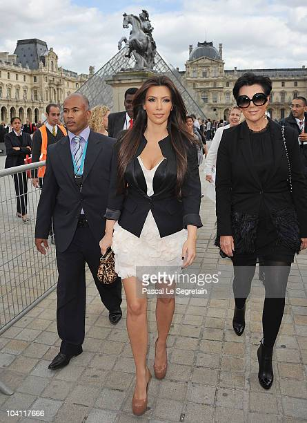 Kim Kardashian and Kris Jenner arrive to visit the Louvre Museum on September 15 2010 in Paris France