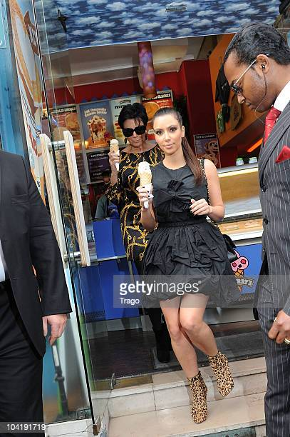 Kim Kardashian and Kris Jenner visit Ben Jerry's on September 16 2010 in Paris France