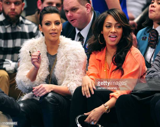 Kim Kardashian and Lala Vazquez attend the Milwaukee Bucks vs New York Knicks game at Madison Square Garden on March 25 2011 in New York City