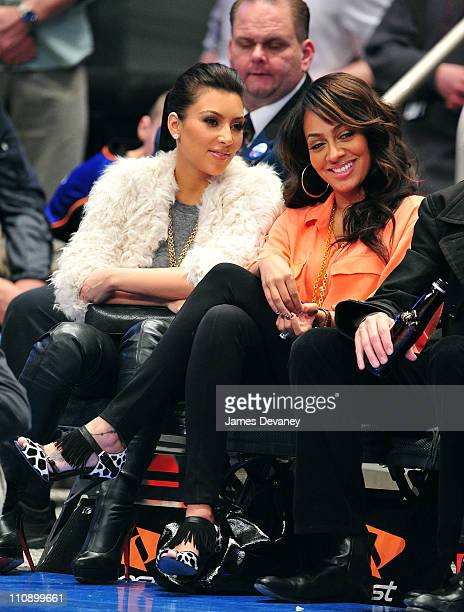 Kim Kardashian and Lala Vazquez attends the Milwaukee Bucks vs New York Knicks game at Madison Square Garden on March 25 2011 in New York City