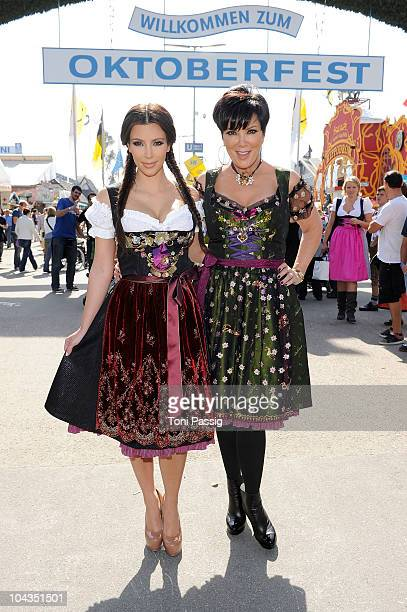 Kim Kardashian and mother Kris arrive for their visit of the Oktoberfest 2010 at the Theresienwiese during her Munich visit on September 22 2010 in...