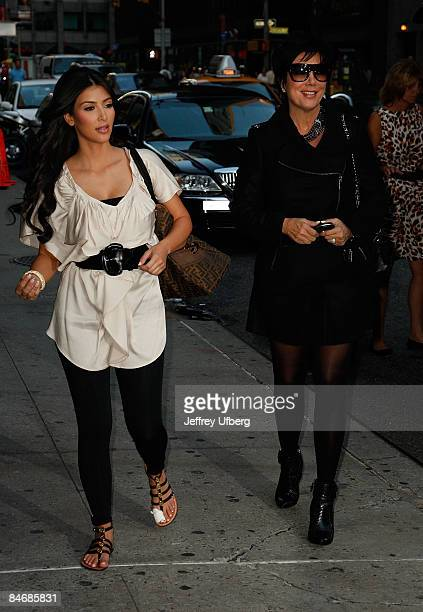 Kim Kardashian and Mother Kris Jenner visit 'Late Show with David Letterman' at the Ed Sullivan Theatre on August 25 2008 in New York City