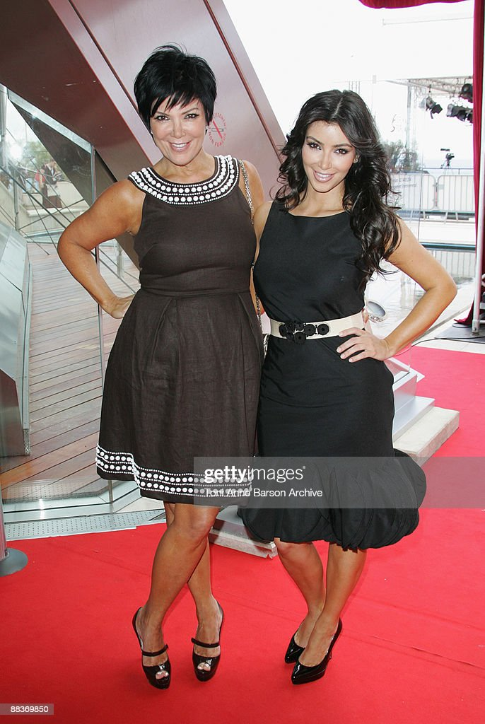Kim Kardashian and mother Kris Kardashian pose during the 49th Monte Carlo Television Festival at the Grimaldi Forum on June 9, 2009 in Monte-Carlo, Monaco.
