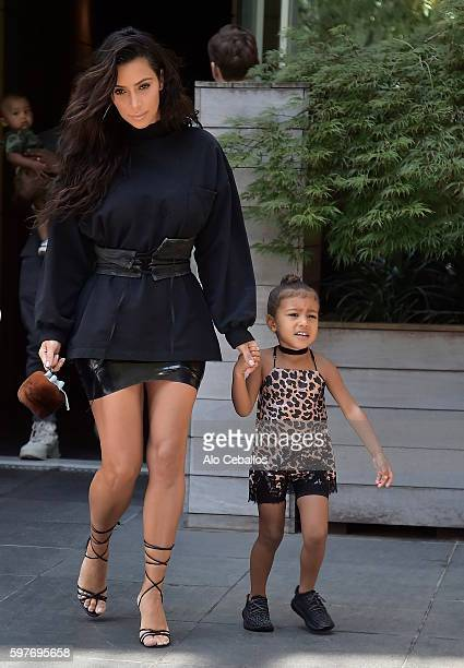 Kim Kardashian and North West are seen in Tribeca on August 29 2016 in New York City