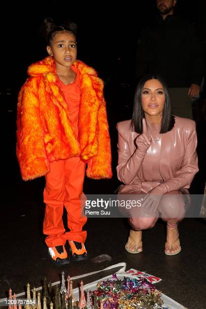 Kim Kardashian and North West are seen near the Eiffel Tower on March 01 2020 in Paris France