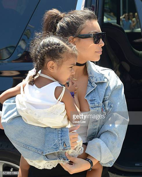Kim Kardashian and North West are seen on April 24 2016 in Miami Beach Florida