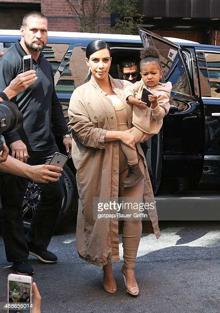 Kim Kardashian and North West are seen on September 16 2015 in New York City