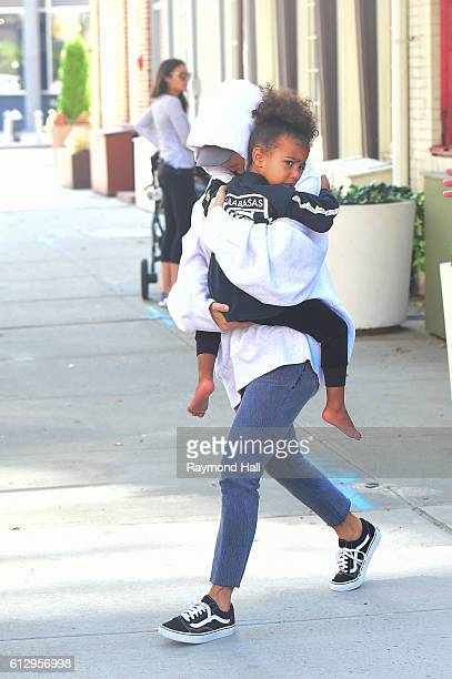 Kim Kardashian and North West are seen walking in Soho on October 6 2016 in New York City