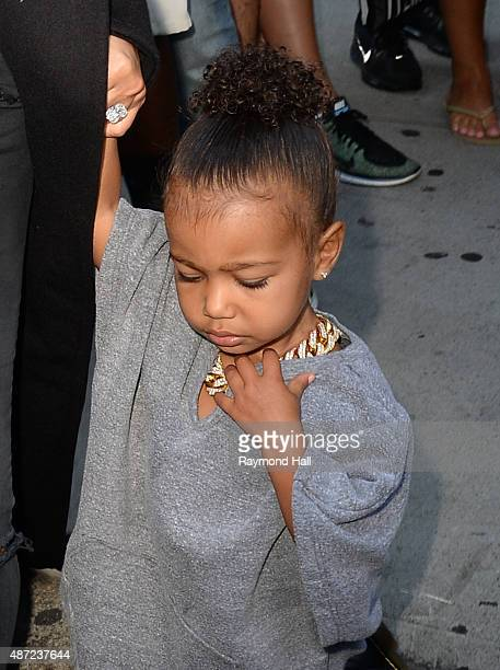 Kim Kardashian and North West are seen walking in Soho on September 7 2015 in New York City