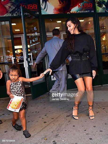 Kim Kardashian and North West leave AMC Loews Orpheum 7 on August 29 2016 in New York City
