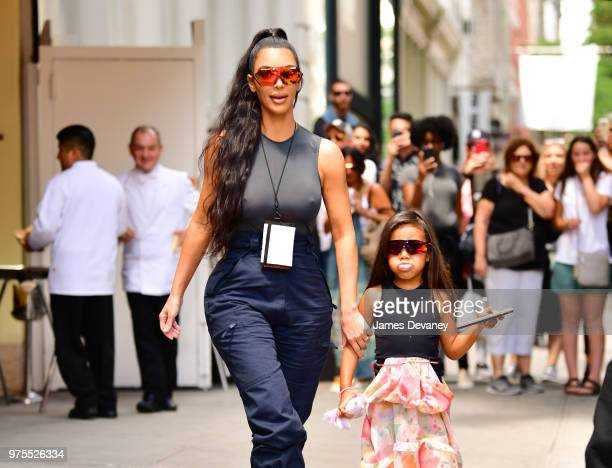 Kim Kardashian and North West leave Cipriani Downtown on June 15 2018 in New York City