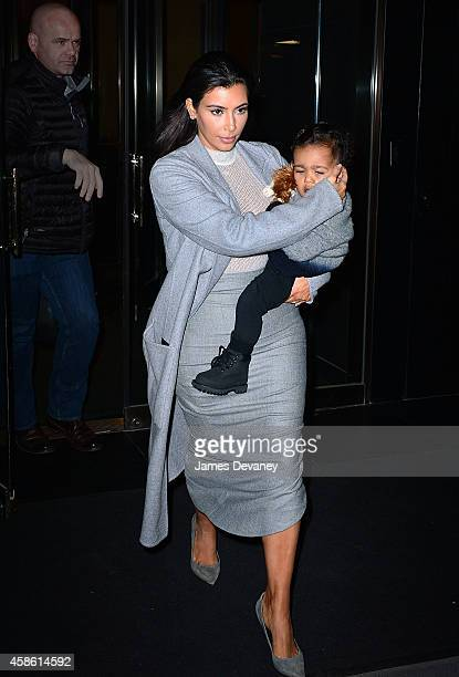 Kim Kardashian and North West seen on the streets of Manhattan on November 7 2014 in New York City