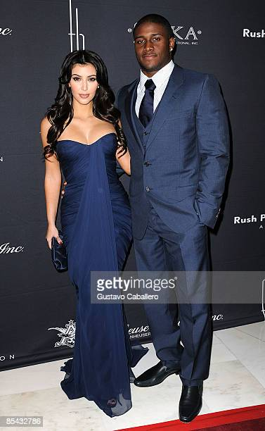 Kim Kardashian and Reggie Bush attends the Russell Simmons Rush Philanthropic Arts Foundation Art For Life at Fontainebleau Hilton on March 14 2009...