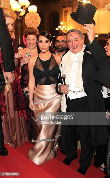 Kim Kardashian and Richard Lugner attend the traditional Vienna Opera Ball at Vienna State Opera on February 27 2014 in Vienna Austria