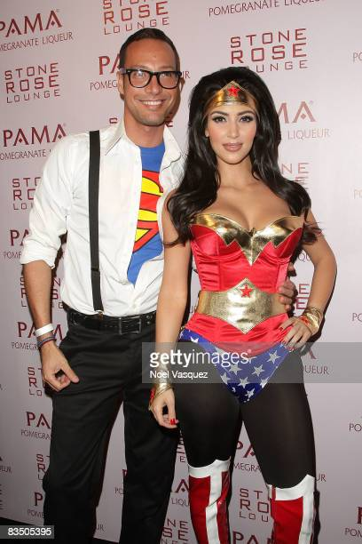 Kim Kardashian and Troy Jensen attend her and PAMA's Halloween Masquerade at the Stone Rose on October 30 2008 in Los Angeles California