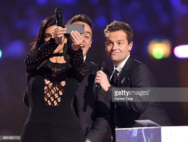 Kim Kardashian Anthony McPartlin and Declan Donnelly on stage at the BRIT Awards 2015 at The O2 Arena on February 25 2015 in London England