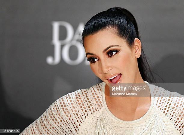 Kim Kardashian arrives at a promotion for the Kardashian Kollection Handbag range at the on November 3 2011 in Sydney Australia