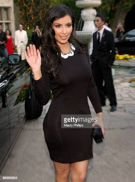 Kim Kardashian arrives at Aces and Angels Celebrity Poker at The Playboy Mansion on July 11 2009 in Beverly Hills California