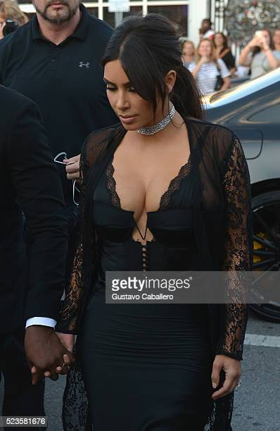 Kim Kardashian arrives at David Grutman's wedding on April 23 2016 in Miami Florida