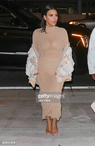 Kim Kardashian arrives at Komodo restaurant to celebrate nightclub owner David Grutman's wedding on April 22 2016 in Miami Florida