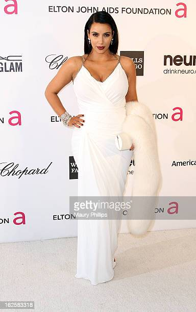 Kim Kardashian arrives at the 21st Annual Elton John AIDS Foundation Academy Awards Viewing Party at Pacific Design Center on February 24, 2013 in...