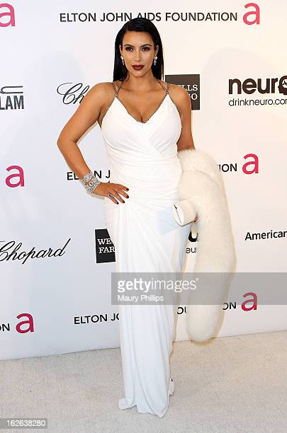 Kim Kardashian arrives at the 21st Annual Elton John AIDS Foundation Academy Awards Viewing Party at Pacific Design Center on February 24 2013 in...