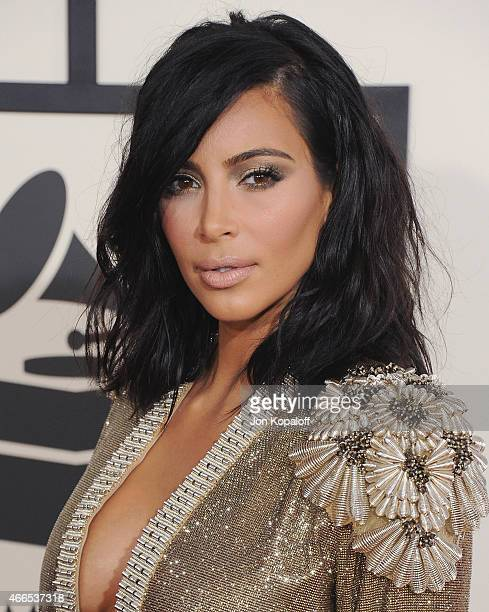 Kim Kardashian arrives at the 57th GRAMMY Awards at Staples Center on February 8 2015 in Los Angeles California