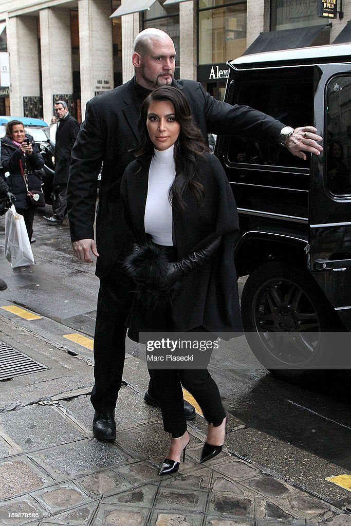 Kim Kardashian arrives at the 'Costes' restaurant on January 22, 2013 in Paris, France.