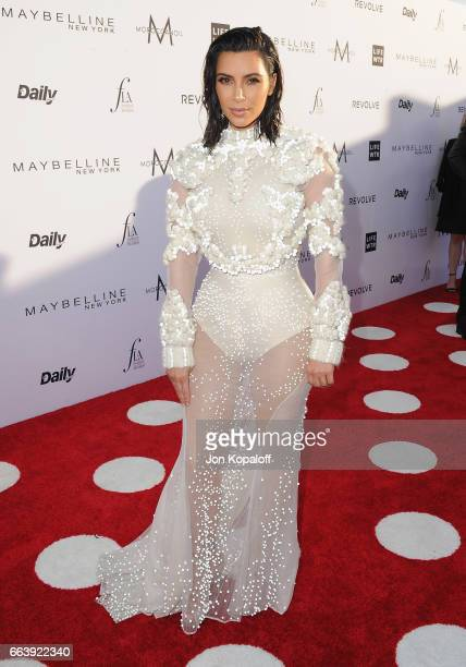 Kim Kardashian arrives at the Daily Front Row's 3rd Annual Fashion Los Angeles Awards at the Sunset Tower Hotel on April 2 2017 in West Hollywood...