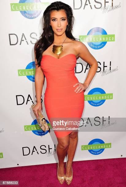 Kim Kardashian arrives at the Grand Opening of Dah Miami at Clevelander Hotel on May 20 2009 in Miami Beach Florida