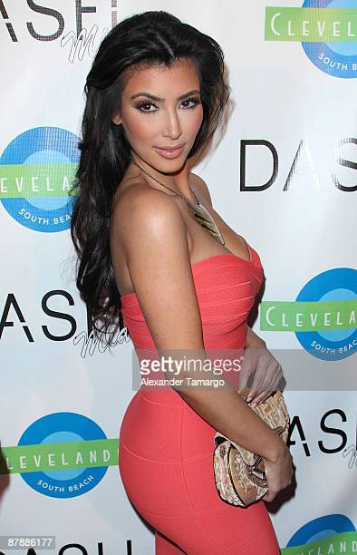 Kim Kardashian arrives at the Grand Opening of Dash Miami at Clevelander Hotel on May 20 2009 in Miami Beach Florida
