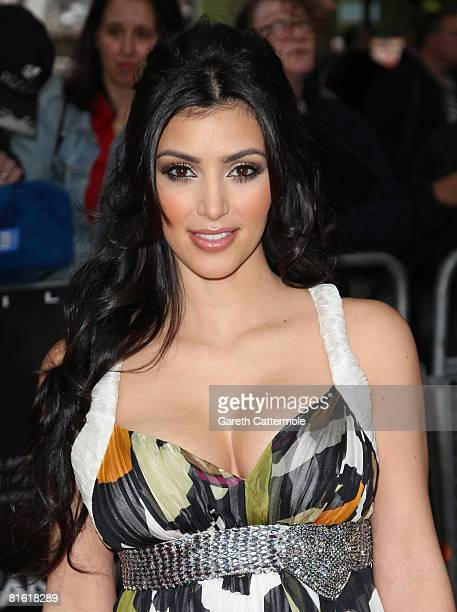 Kim Kardashian arrives at the Hancock premiere at Vue cinema in Leicester Square on June 18 2008 in London England