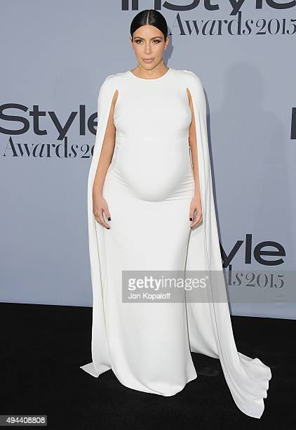 Kim Kardashian arrives at the InStyle Awards at Getty Center on October 26 2015 in Los Angeles California