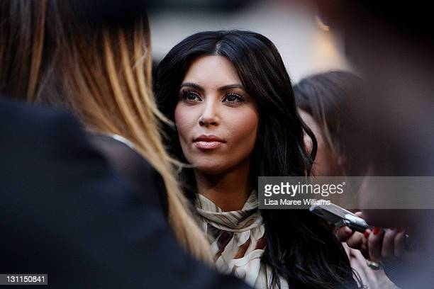 Kim Kardashian arrives at the Kardashian Kollection Handbag launch at Hugo's on November 2 2011 in Sydney Australia The Kardashian sisters will make...