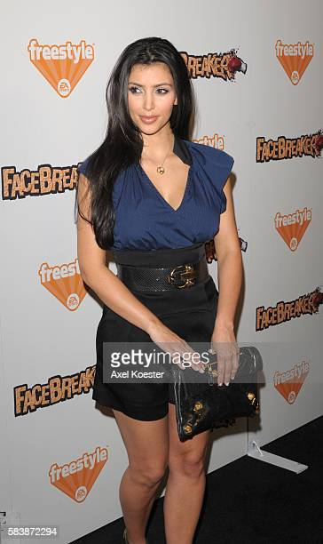 Kim Kardashian arrives at the launch party of EA Sports Freestyle's newest video game FaceBreaker at Avalon in Hollywood