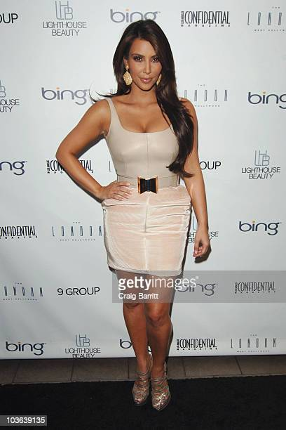 Kim Kardashian arrives at the Los Angeles Confidential Magazine's Fall Fashion Issue Party at The London Hotel on August 25 2010 in West Hollywood...