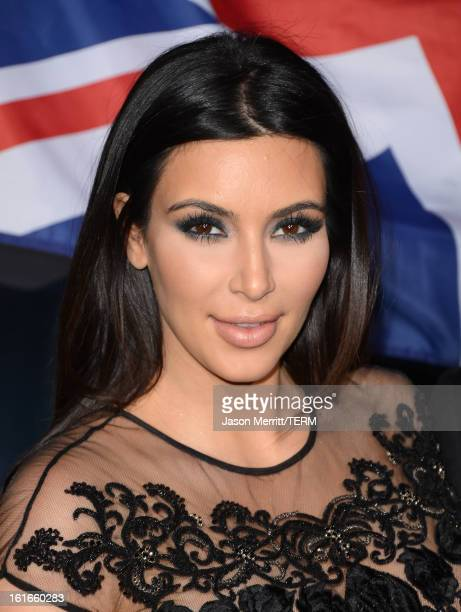 Kim Kardashian arrives at the Topshop Topman LA Opening Party at Cecconi's West Hollywood on February 13 2013 in Los Angeles California